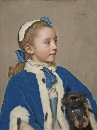 Portrait of Maria Frederike van Reede-Athlone at Seven Years of Age, 1755-Jean-Etienne Liotard-Giclee Print