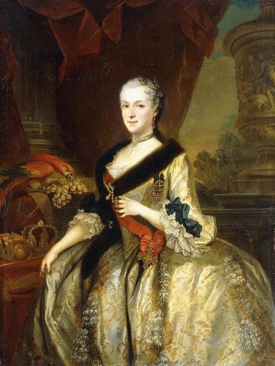 Portrait of Maria Josepha, Queen of Poland, Standing Three-Quarter Length-Louis de Silvestre-Giclee Print