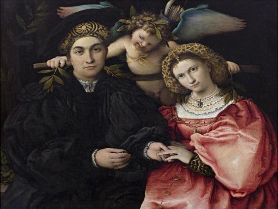 Portrait of Marsilio Cassotti and His Bride Faustina-Lorenzo Lotto-Giclee Print