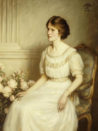 Portrait of Mary Doris Reed, Seated Half Length, Wearing a White Dress-Henry John Hudson-Giclee Print