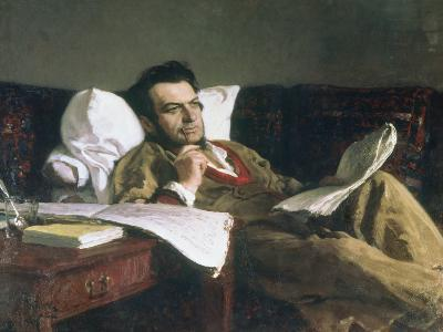 Portrait of Mikhail Glinka at the Time of His Composition of the Opera Ruslan and Ludmilla, c. 1887-Ilya Efimovich Repin-Giclee Print