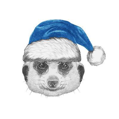 Portrait of Mongoose with Santa Hat. Hand Drawn Illustration.-victoria_novak-Art Print