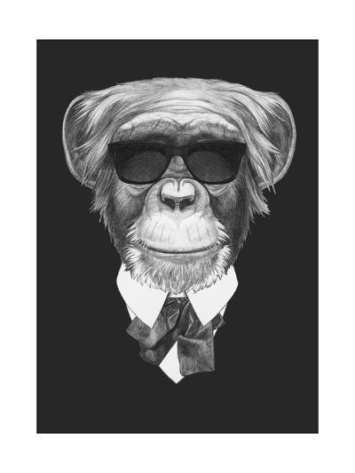 Portrait of Monkey in Suit. Hand Drawn Illustration.-victoria_novak-Art Print