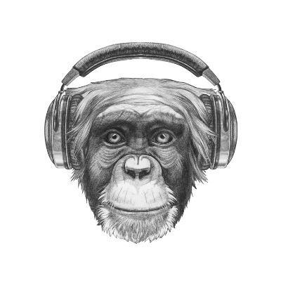 Portrait of Monkey with Headphones. Hand Drawn Illustration.-victoria_novak-Art Print