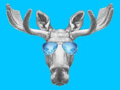 Portrait of Moose with Mirror Sunglasses. Hand Drawn Illustration.-victoria_novak-Art Print