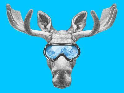 Portrait of Moose with Ski Goggles. Hand Drawn Illustration.-victoria_novak-Art Print