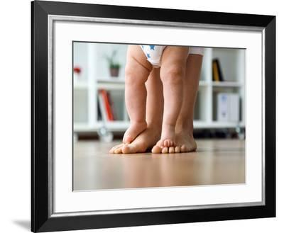 Portrait of Mother and Baby Legs. First Steps.-nenetus-Framed Photographic Print