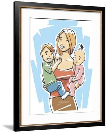 Portrait of Mother Holding Son and Daughter--Framed Photo