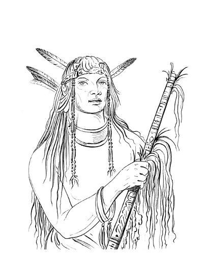 Portrait of Mouse Coloured Feather, Native American Man, 1841-Myers and Co-Giclee Print