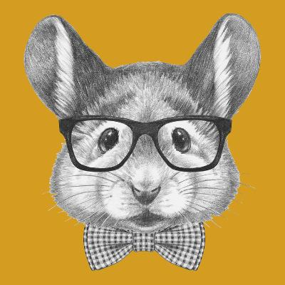 Portrait of Mouse with Glasses and Bow Tie. Hand Drawn Illustration.-victoria_novak-Art Print