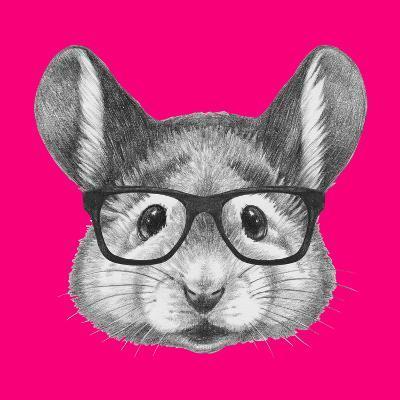 Portrait of Mouse with Glasses. Hand Drawn Illustration.-victoria_novak-Art Print