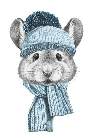 Portrait of Mouse with Hat and Scarf. Hand Drawn Illustration.-victoria_novak-Art Print