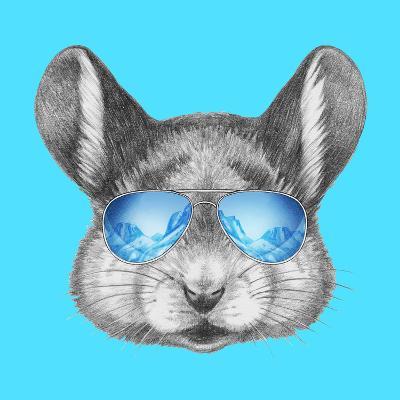 Portrait of Mouse with Mirror Sunglasses . Hand Drawn Illustration.-victoria_novak-Art Print