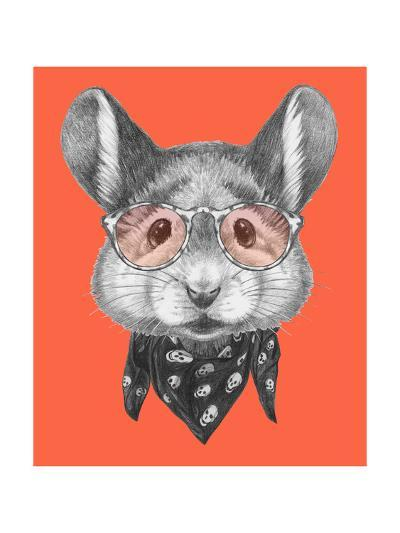 Portrait of Mouse with Scarf and Glasses. Hand Drawn Illustration.-victoria_novak-Art Print