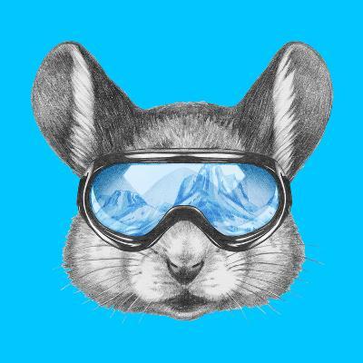Portrait of Mouse with Ski Goggles. Hand Drawn Illustration.-victoria_novak-Art Print