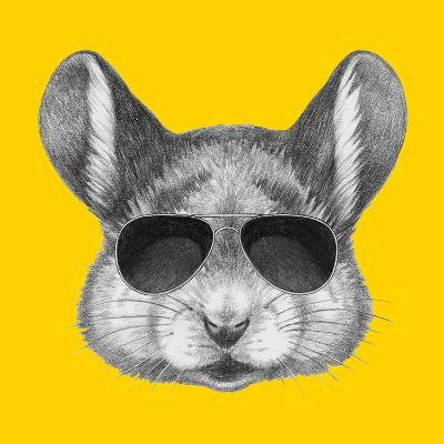 Portrait of Mouse with Sunglasses. Hand Drawn Illustration.-victoria_novak-Art Print