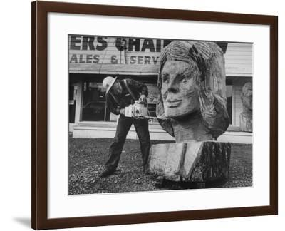 Portrait of Mrs. John Kennedy Made by Ken Kaiser with a Chain Saw-Grey Villet-Framed Photographic Print