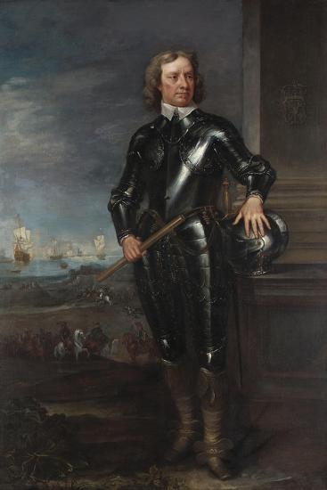 Portrait of Oliver Cromwell (1599-1658) in Armour, a Seascape and Battle Beyond, Late 1650S--Giclee Print