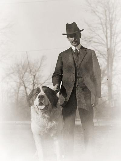 Portrait of Orville Wright and His Dog Scipio, 1917--Photographic Print