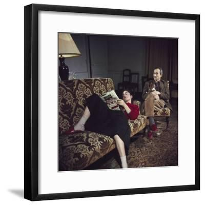 Portrait of Painter Balthus and His Niece Frederique Tison at the Chateau De Chassy-Loomis Dean-Framed Premium Photographic Print