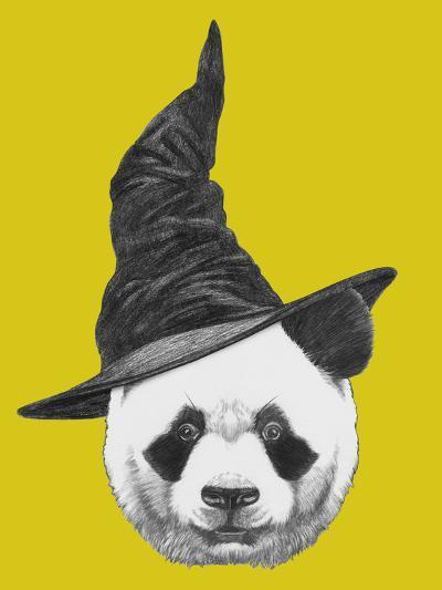 Portrait of Panda with Witch Hat. Halloween Illustration-victoria_novak-Art Print