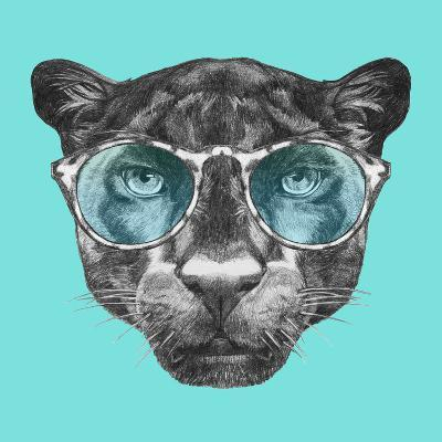 Portrait of Panther with Glasses. Hand Drawn Illustration.-victoria_novak-Art Print