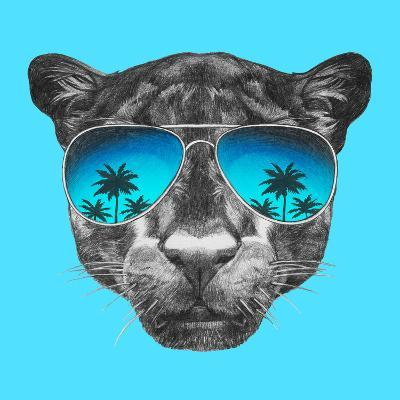 Portrait of Panther with Mirror Sunglasses. Hand Drawn Illustration.-victoria_novak-Art Print