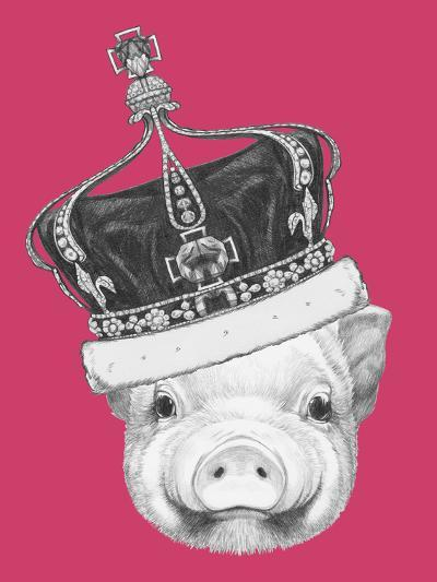 Portrait of Piggy. Hand Drawn Illustration.-victoria_novak-Art Print