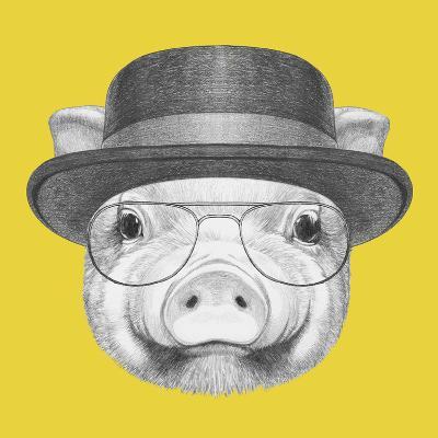 Portrait of Piggy with Gas Mask. Hand Drawn Illustration.-victoria_novak-Art Print