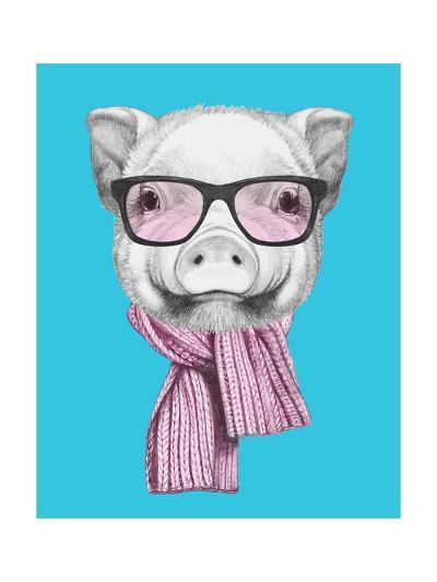 Portrait of Piggy with Glasses and Scarf. Hand Drawn Illustration.-victoria_novak-Art Print