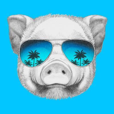 Portrait of Piggy with Mirror Sunglasses. Hand Drawn Illustration.-victoria_novak-Art Print