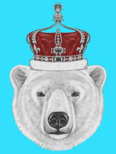 Portrait of Polar Bear with Crown. Hand Drawn Illustration.-victoria_novak-Art Print