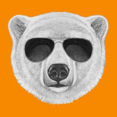 Portrait of Polar Bear with Sunglasses. Hand Drawn Illustration.-victoria_novak-Art Print