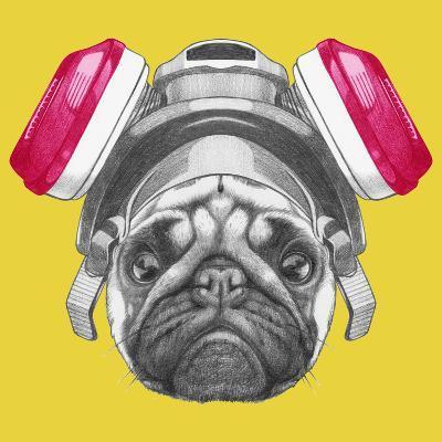 Portrait of Pug Dog with Gas Mask. Hand Drawn Illustration.-victoria_novak-Art Print