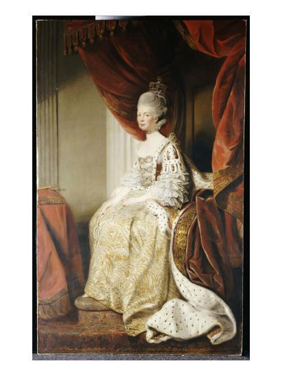 Portrait of Queen Charlotte, Full Length, Seated in Robes of State-Sir Joshua Reynolds-Giclee Print
