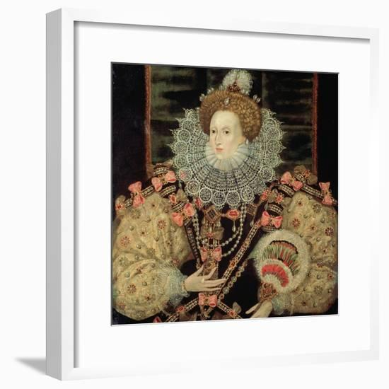 Portrait of Queen Elizabeth I - the Armada Portrait-George Gower-Framed Giclee Print