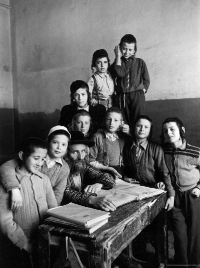Portrait of Rabbi Eleazar Brizel and Students-Alfred Eisenstaedt-Photographic Print