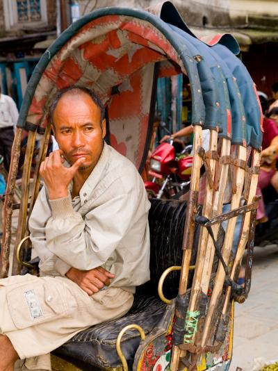 Portrait of Rickshaw Driver, Jaipur, Rajasthan, India-Bill Bachmann-Photographic Print