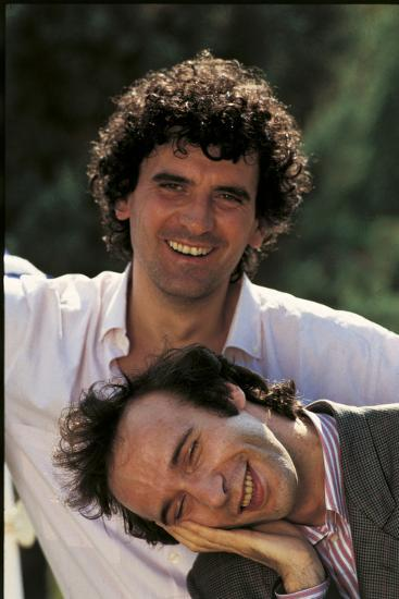 Portrait of Roberto Benigni and Massimo Troisi Smiling--Photographic Print