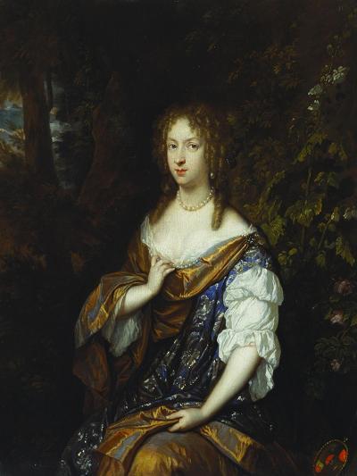 Portrait of Sara Nuyts (1645-1723), (Wife of Lambert Witsen), in an Orange, Blue and White Dress-Caspar Netscher-Giclee Print