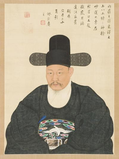 Portrait of Scholar-Official Ahn in His Fifties, 19th century- Yi Chae-gwan-Giclee Print