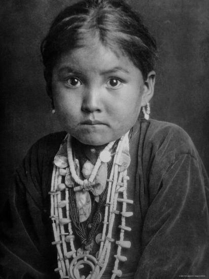 Portrait of Small Girl in Costume, Who is Native American Navajo Princess-Emil Otto Hopp?-Photographic Print