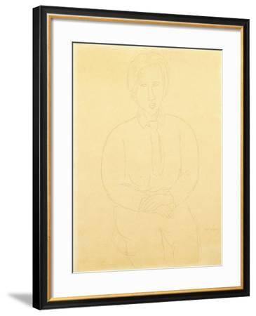 Portrait of Soutine Sitting, 1917-Amedeo Modigliani-Framed Giclee Print