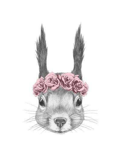Portrait of Squirrel with Floral Head Wreath. Hand Drawn Illustration.-victoria_novak-Art Print