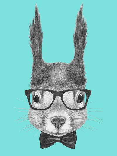 Portrait of Squirrel with Glasses and Bow Tie . Hand Drawn Illustration.-victoria_novak-Art Print