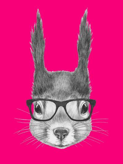 Portrait of Squirrel with Glasses. Hand Drawn Illustration.-victoria_novak-Art Print