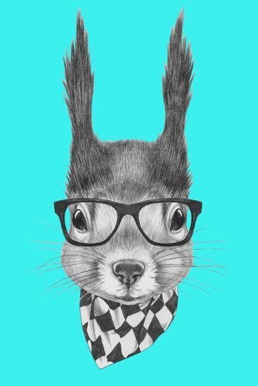 Portrait of Squirrel with Scarf and Glasses. Hand Drawn Illustration.-victoria_novak-Art Print