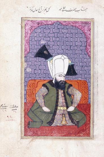 Portrait of Sultan Ahmed III (1673-1736), 18th Century (Gouache with Gold Paint on Paper)--Giclee Print
