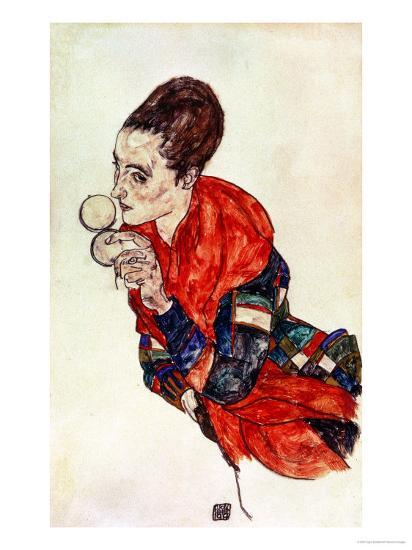 Portrait of the Actress Marga Boerner with Compact, 1917-Egon Schiele-Giclee Print