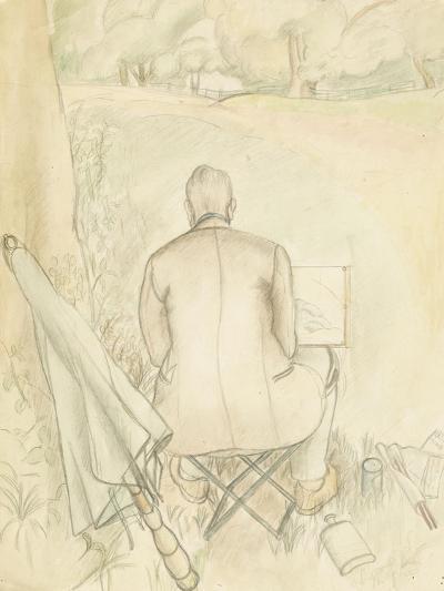 Portrait of the Artist's Husband, Reginald Brill, Sketching, C.1930-Rosalie Brill-Giclee Print